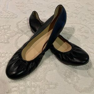 J Crew Black Leather Ballet Flats
